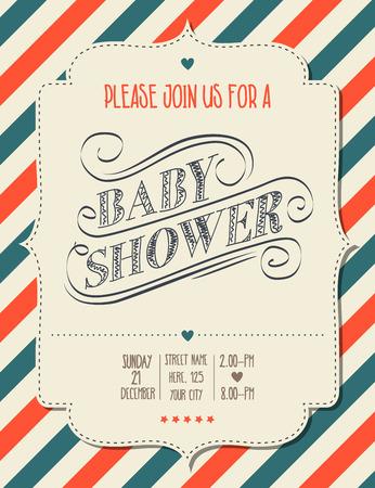 invitacion baby shower: invitación de la fiesta en estilo retro, formato vectorial