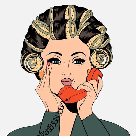 rulos: Mujer con rulos en el pelo que hablan en el tel�fono, aislado en formato vectorial blanco