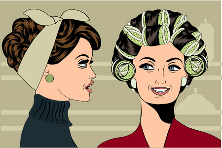 pampering: Woman with curlers in their hair talking with her friend, vector format