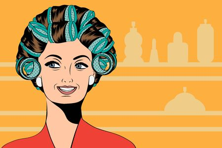 pamper: Woman with curlers in their hair, vector format