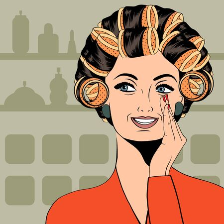 hair styling: Woman with curlers in their hair, vector format