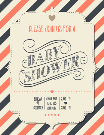 baby shower invitation in retro style, vector format 矢量图像