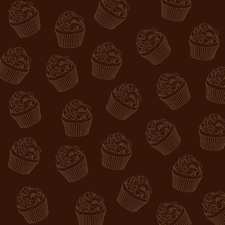 sugar cookies: cupcakes pattern, vector format