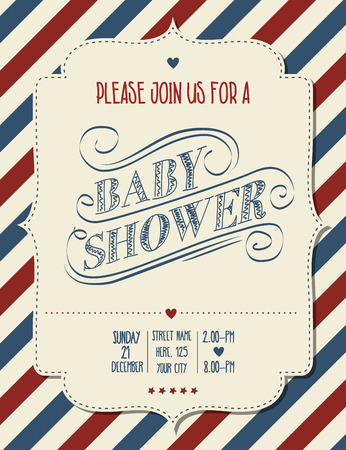 baby announcement: baby shower invitation in retro style, vector format Illustration