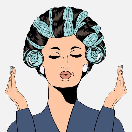 rulos: Mujer con rulos en el pelo, aislado en formato vectorial blanco
