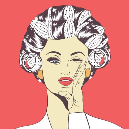beautiful girl: Woman with curlers in their hair, vector format