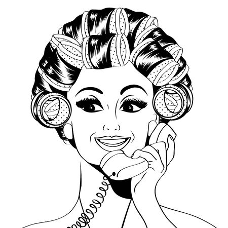 rulos: Mujer con rulos en el pelo que hablan en el teléfono, aislado en formato vectorial blanco