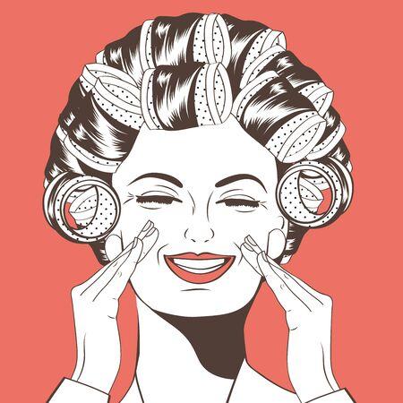 rulos: Mujer con rulos en su formato vectorial pelo