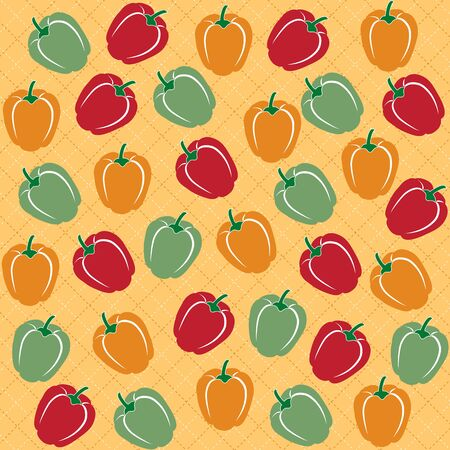 flavorful: Seamless pattern of sweet peppers of different colors, vector format