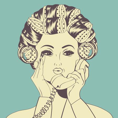 rulos: Mujer con rulos en el pelo que habla en el teléfono, el formato del vector