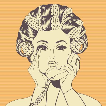 talking phone: Woman with curlers in their hair talking at phone,  vector format