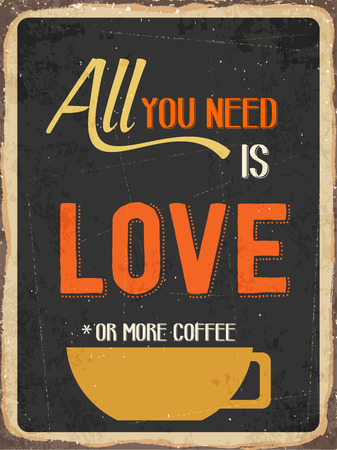 Retro metal sign All you need is love or more coffee