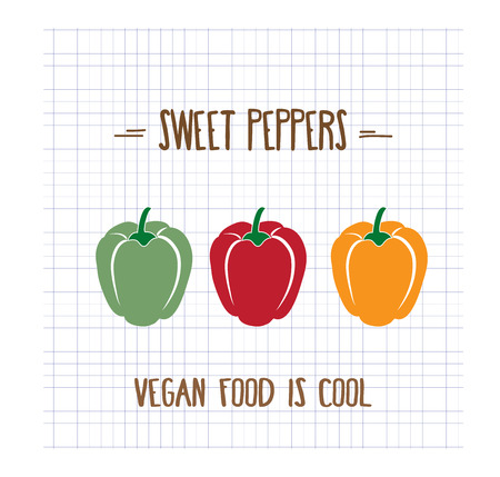flavorful: sweet peppers, vector format
