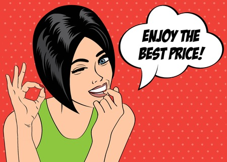 pop art cute retro woman in comics style with message  enjoy the best price , vector illustration