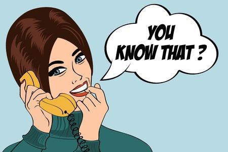 女性の携帯電話、ポップアートの図、ベクトル図でおしゃべり