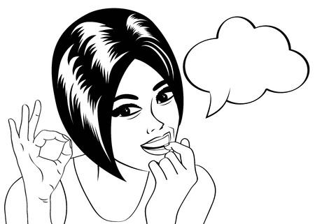 woman open mouth: pop art cute retro woman in comics style in black and white  , vector illustration Illustration