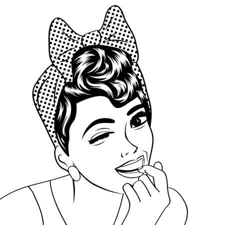black art: pop art cute retro woman in comics style in black and white, vector illustration Illustration