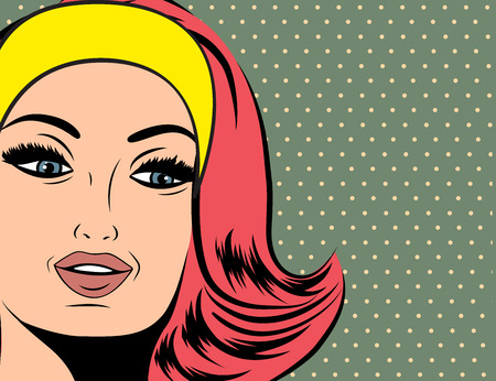red hair: Pop Art illustration of girl with the red hair. Pop Art girl. Party invitation. Birthday greeting card.Vintage advertising poster. Fashion woman with red hair