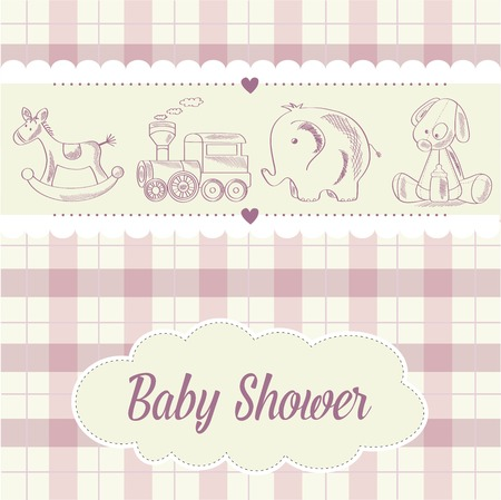 playfulness: baby girl shower card with retro toys, vector illustration Illustration