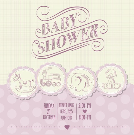 baby girl shower card with retro toys, vector illustration Illustration