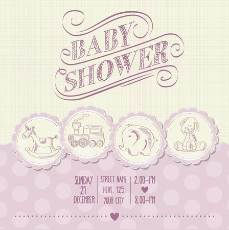 Tarjeta de Baby Shower niña con juguetes retro, ilustración vectorial Foto de archivo - 45110353