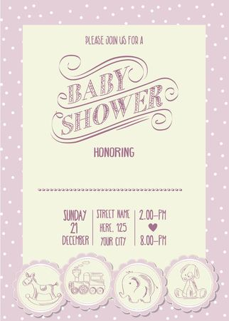 special moments: baby girl shower card with retro toys, vector illustration Illustration