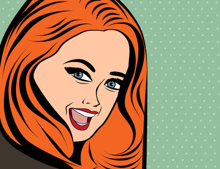 long red hair: cute retro woman with long red hair in comics style , vector illustration