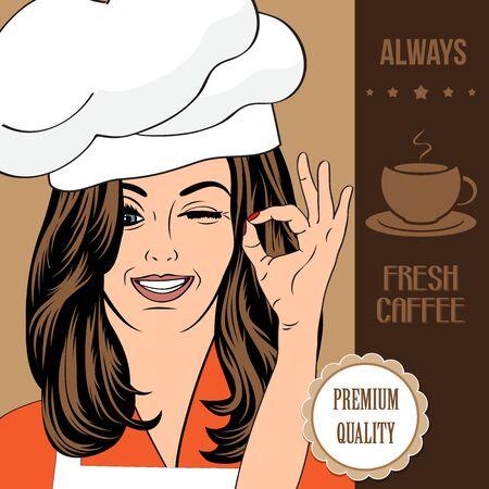 belle dame: la publicit� de caf� banni�re avec une belle dame, format vectoriel