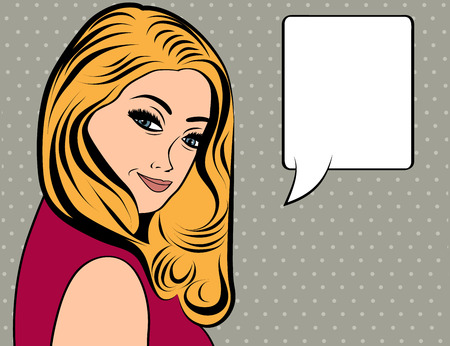 woman hair: cute retro woman with long blonde hair in comics style, vector illustration