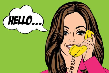 sexy mooie vrouw chatten op de retro telefoon, vector illustratie
