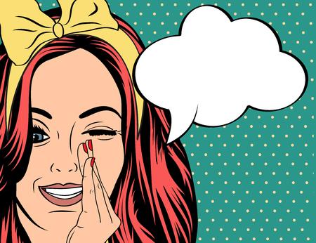 historietas: Ilustración del arte pop de la muchacha con el discurso bubble.Pop Arte chica. Invitación de la fiesta. Saludo de cumpleaños cartel publicitario card.Vintage. Forme a la mujer con la burbuja del discurso.