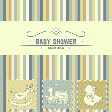 Tarjeta de Baby Shower con los juguetes retro, ilustración vectorial Foto de archivo - 45110770
