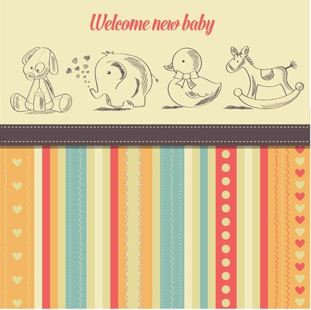 new baby: new baby  announcement card with retro toys, vector illustration