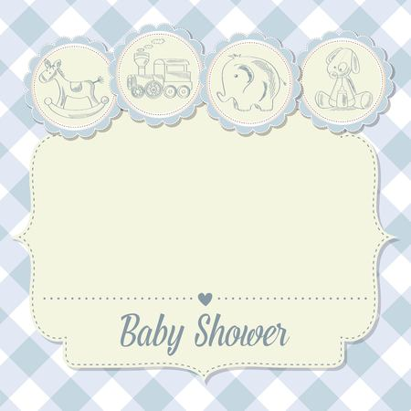 cartoon boy: baby boy shower card with retro toys, vector illustration Illustration