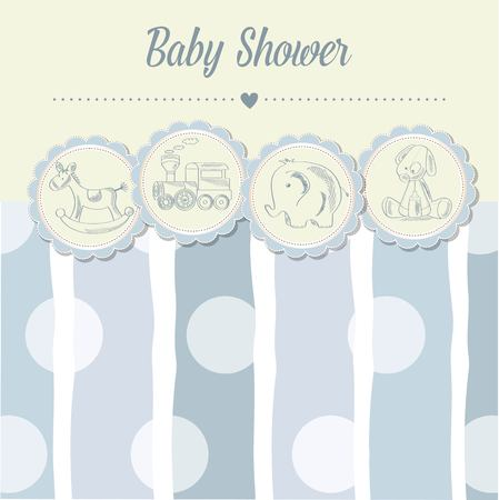special moments: baby boy shower card with retro toys, vector illustration Illustration