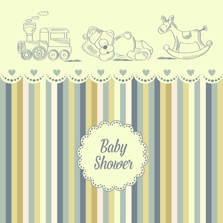 baby shower card with retro toys, vector illustration Ilustracja