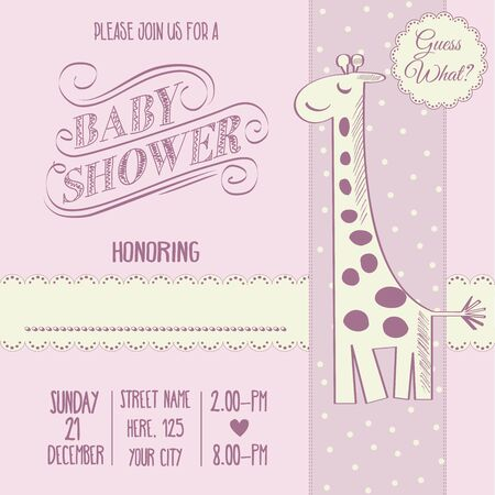 baby girl shower card with retro toy, vector illustration Illustration