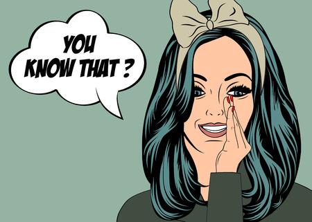 pin up vintage: Pop Art illustrazione della ragazza con il discorso bubble.Pop Art ragazza. dell'invito del partito. biglietto di auguri di compleanno. manifesto pubblicitario d'epoca. Moda donna con fumetto.