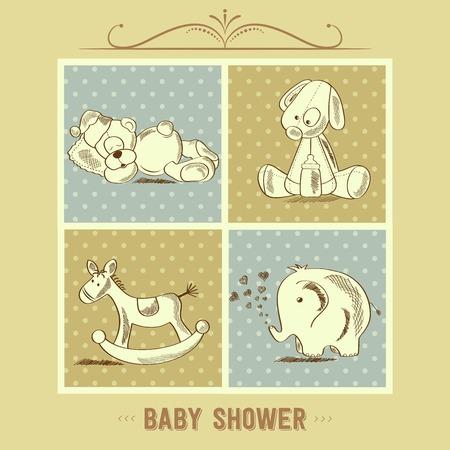 fondo para tarjetas: Tarjeta de Baby Shower con los juguetes retro, ilustraci�n vectorial Vectores