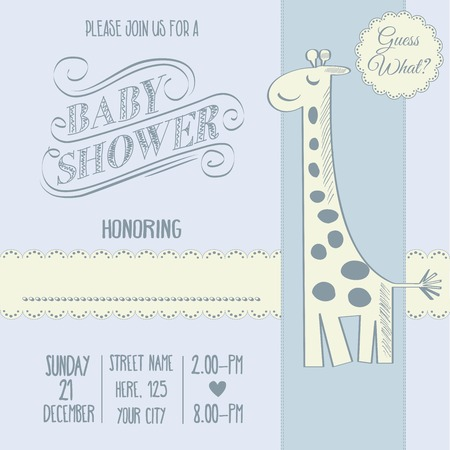 special events: baby boy shower card with retro toy, vector illustration