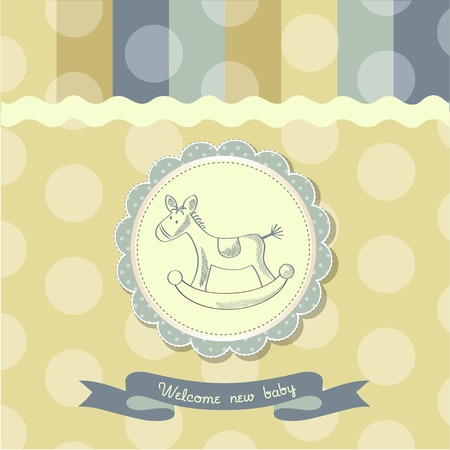 rocking: retro baby shower card with rocking horse, vector illustration
