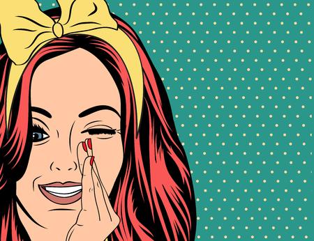pin up vintage: Pop Art illustrazione della ragazza con i capelli rossi. Pop Art Girl. Partito invito. Auguri di compleanno manifesto card.Vintage pubblicità. Donna di modo con la nuvoletta. Vettoriali