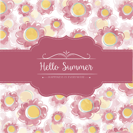 natural color: Watercolor floral  card  with message Hello Summer Illustration