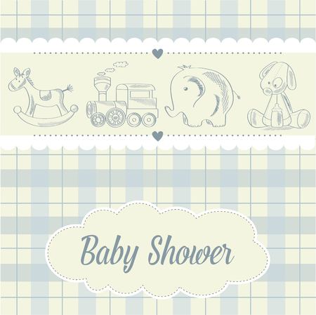 play boy: baby boy shower card with retro toys, vector illustration Illustration