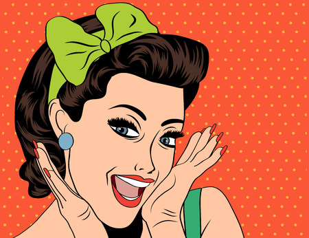Pop Art illustration of girl.  Pop Art girl. Vintage advertising poster. Fashion woman with bow 일러스트