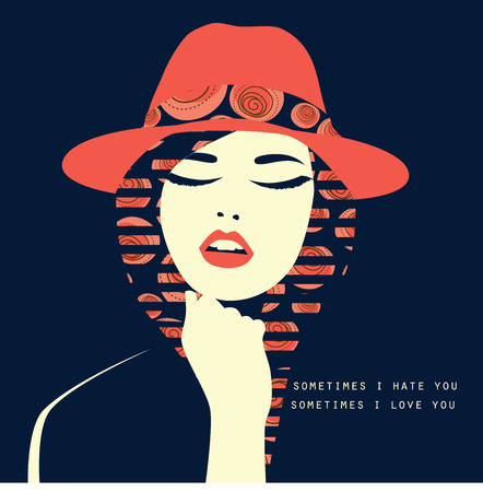 Vector double exposure illustration. Sexy woman with red hat