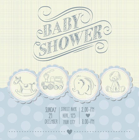 playfulness: baby boy shower card with retro toys, vector illustration Illustration