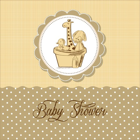 arrival: baby shower card with retro toys, vector illustration Illustration