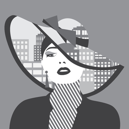 Vector double exposure illustration. Sexy woman with city in her hat