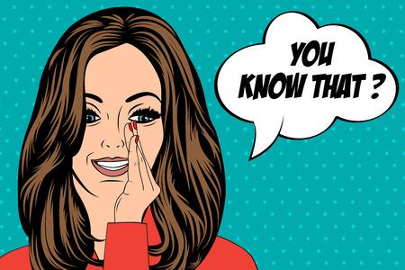 beautiful woman saying little secrets, vector illustration